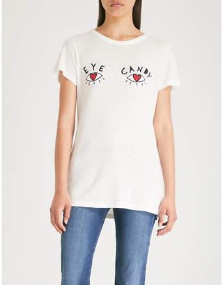 ROTTEN ROACH Eye Candy linen-blend T-shirt