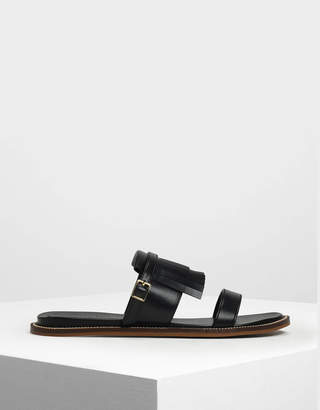 Charles & Keith Fringe Trim Sliders