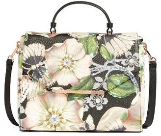 Ted Baker London Gem Gardens Faux Leather Top Handle Satchel - Black $209 thestylecure.com