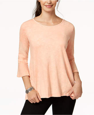 Style&Co. Style & Co Petite Cotton Bell-Sleeve Top
