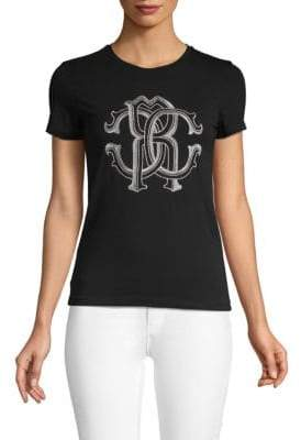 Roberto Cavalli Embroidered Stretch-Cotton Tee