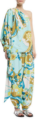 Marc Jacobs One-Shoulder Balloon-Sleeve Swirl-Print Blouse