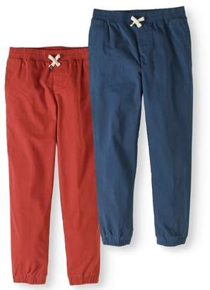 Cherokee Boys' Woven Pull On Jogger Pants With Draw String, 2-Pack