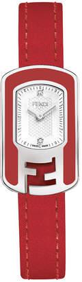 Fendi Chameleon 2-Diamond Watch w\/ Leather Strap Red\/White