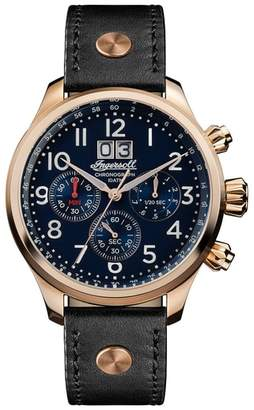 INGERSOLL WATCHES Ingersoll Delta Chronograph Leather Strap Watch, 40mm