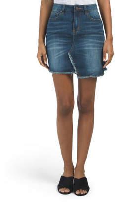 Juniors Split Hem Denim Skirt