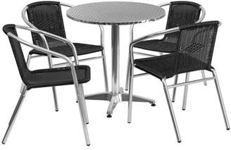 Flash Furniture 27.5'' Round Aluminum Indoor-Outdoor Table with 4 Rattan Chairs, Multiple Colors