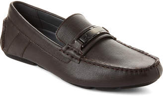 Calvin Klein Dark Brown Marcell Saffiano Driving Loafers
