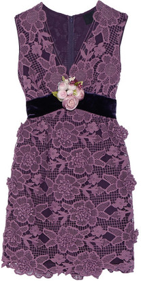 Anna Sui - Camilla Velvet-trimmed Crocheted Lace Mini Dress - Plum $650 thestylecure.com