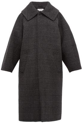 Balenciaga Oversized Checked Wool Blend Coat - Womens - Dark Grey