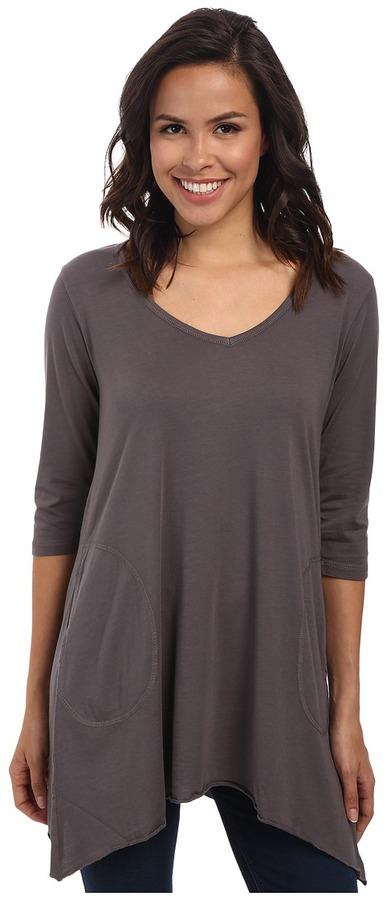 Allen Allen 3/4 Sleeve V-Angled Tunic Women's Short Sleeve Pullover