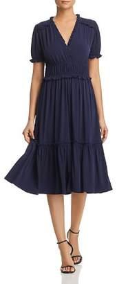 MICHAEL Michael Kors Shirred Ruffle-Trimmed Dress