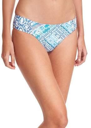 Seafolly Blue Bazaar Ruched-Side Retro Swim Bikini Bottom
