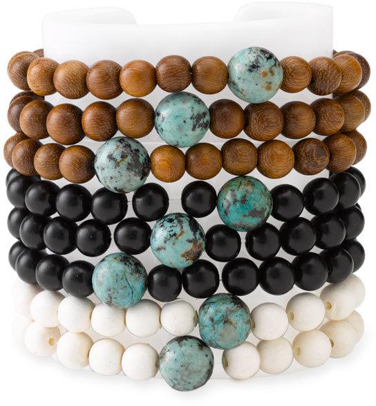 Dogeared Wood & Turquoise Bead Stretch Bracelet