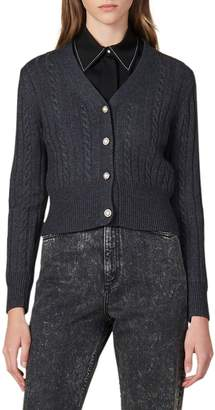 Sandro Jinale Cable-Knit Crop Cardigan