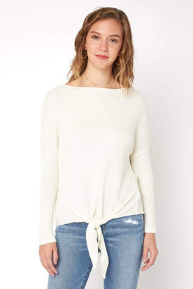 Others Follow Moon Dance Tie Front Waffle Knit Top