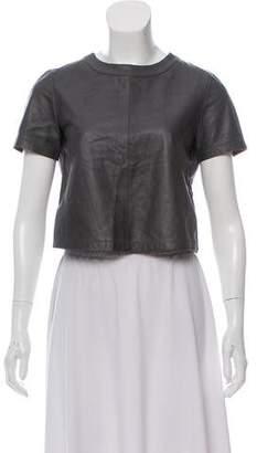 Alice + Olivia Short Sleeve Leather Top