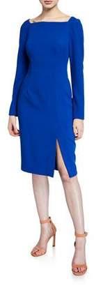 Black Halo Rachel High-Neck Long-Sleeve Sheath Dress with Slit