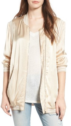 Women's Blanknyc Long Satin Bomber Jacket $99 thestylecure.com