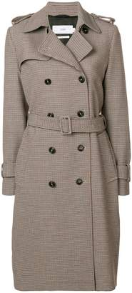 Closed houndstooth trench coat