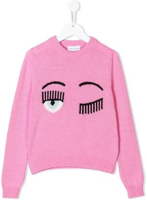 Chiara Ferragni Kids wink face jumper