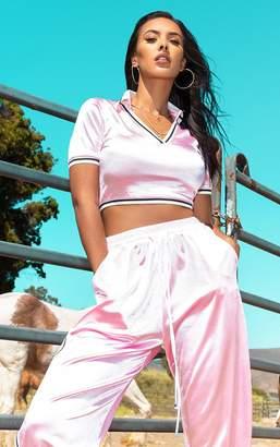 PrettyLittleThing Pastel Pink Satin Stripe Trim Crop Top
