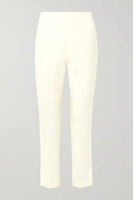 Danielle Frankel - Chantilly Lace-trimmed Silk And Wool-blend Tapered Pants - Ivory
