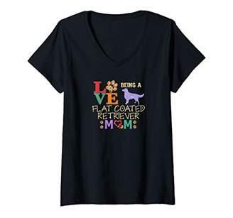 Womens Flat Coated Retriever Mom Flat Coated Retriever Lovers V-Neck T-Shirt
