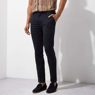 River Island Mens Navy super skinny fit smart trousers