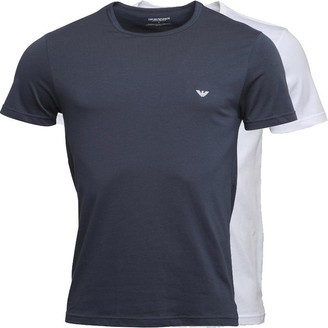 Emporio Armani Mens Two Pack Crew Neck T-Shirt White/Navy Blue