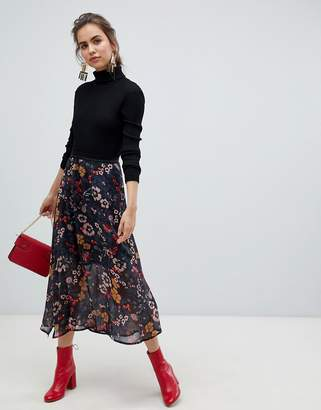 B.young floral midi skirt