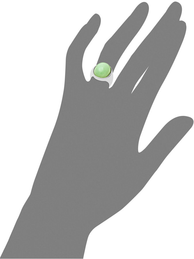 Sterling Silver Ring, Large Oval Jade Ring