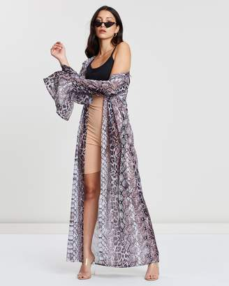Missguided Snake Print Kimono Cover Up