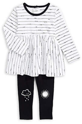Petit Lem Baby Girl's Two-Piece Pleated Tunic Graphic Leggings Set