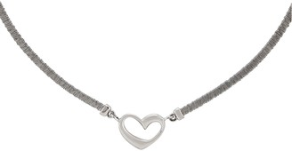 Italian Silver Wire Wrapped Heart Necklace, 10.6g