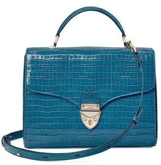 Aspinal of London Mayfair Bag In Deep Shine Topaz Small Croc