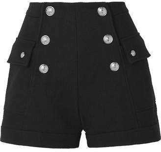 Balmain Button-embellished Cotton Shorts - Black