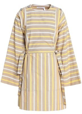 See by Chloe Bow-detailed Striped Cotton-canvas Mini Dress