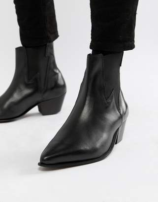 0cbc32efd4b4 Asos Design DESIGN cuban heel western boots in black leather with lightning  detail