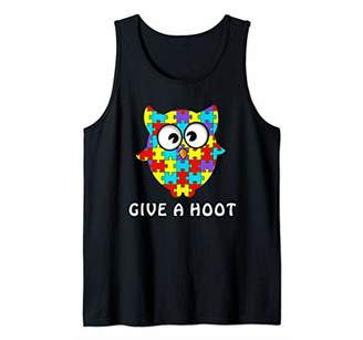 Give A Hoot Autism | Cool Owl Disability Autistic Funny Gift Tank Top