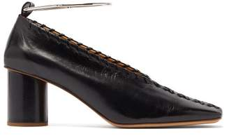 Jil Sander Whipstitched Square Toe Leather Pumps - Womens - Black