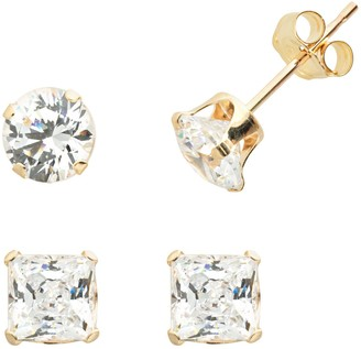 Swarovski Renaissance Collection 10k Gold 2-ct. T.W. Stud Earring Set - Made with Cubic Zirconia