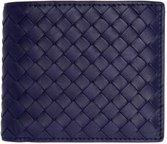 Bottega Veneta Blue Classic Intrecciato Bifold Wallet