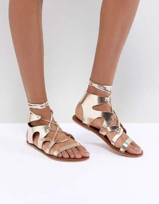 Warehouse Ankle Tie Leather Gladiator Sandals