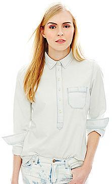Joe Fresh Long-Sleeve Bleached Denim Shirt