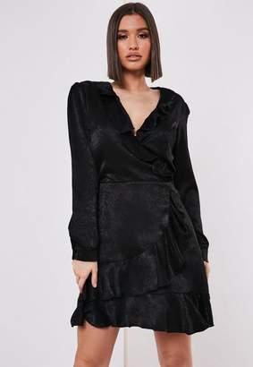 63221e4a34be Missguided Tall Black Satin Frill Mini Dress, Black