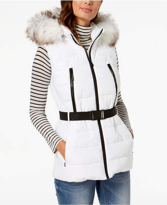 Michael Kors Active Faux-Fur-Trim Belted Vest