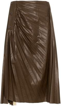 Low Classic high waist pleated faux leather skirt