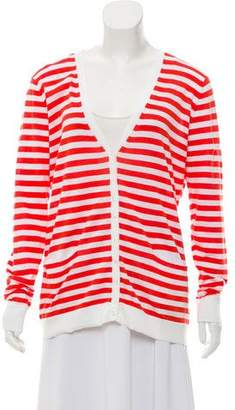 Cotton by Cashmere Striped Button-Up Cardigan