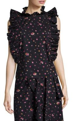 Rebecca Taylor Mia Pleated Floral-Print Cotton Top $275 thestylecure.com